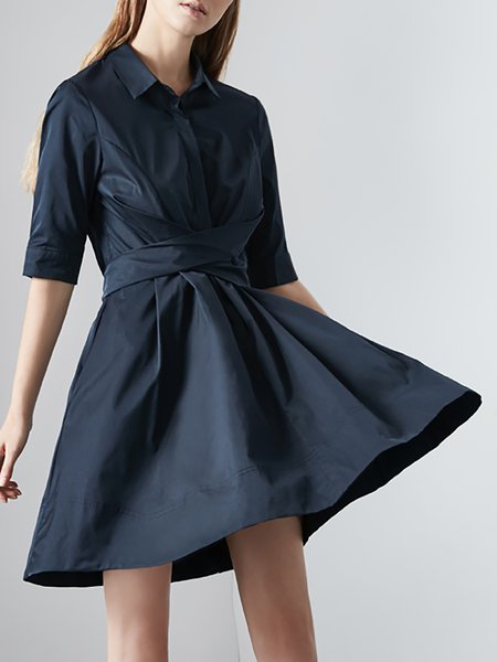 Navy Blue Casual Shirt Collar Cotton A-line Midi Dress