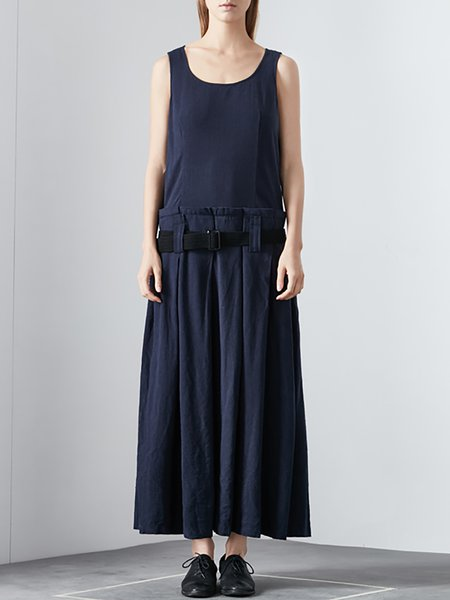 Dark Blue Shift Sleeveless Maxi Dress with Belt