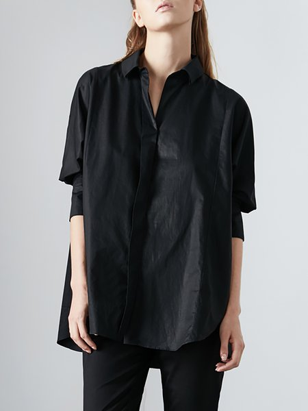 3/4 Sleeve Simple High Low Blouse