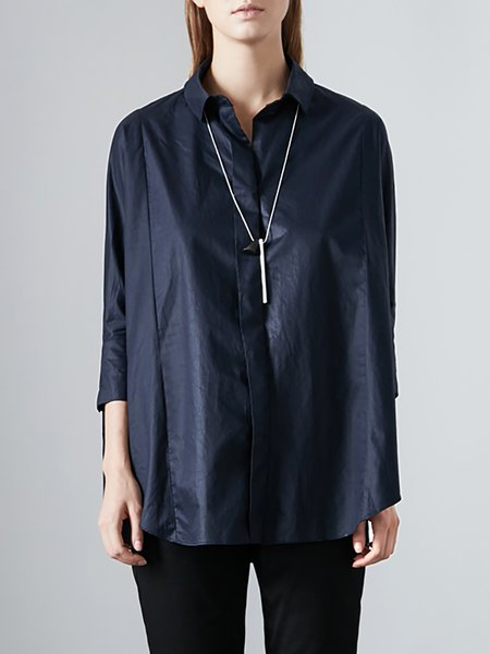 Dark Blue Simple Plain Blouse