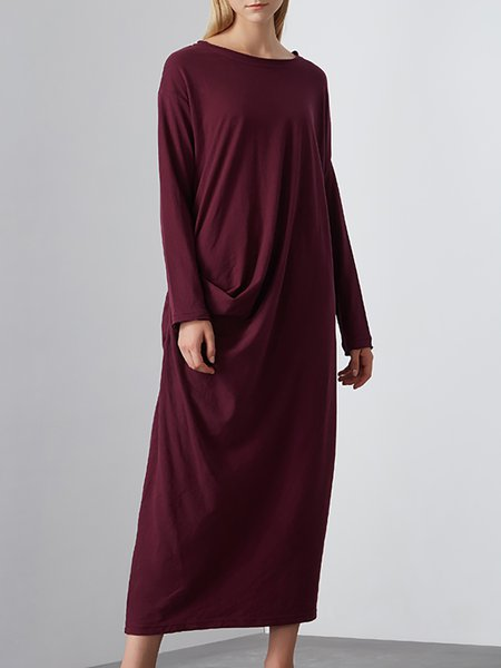Wine Red Long Sleeve Shift Maxi Dress