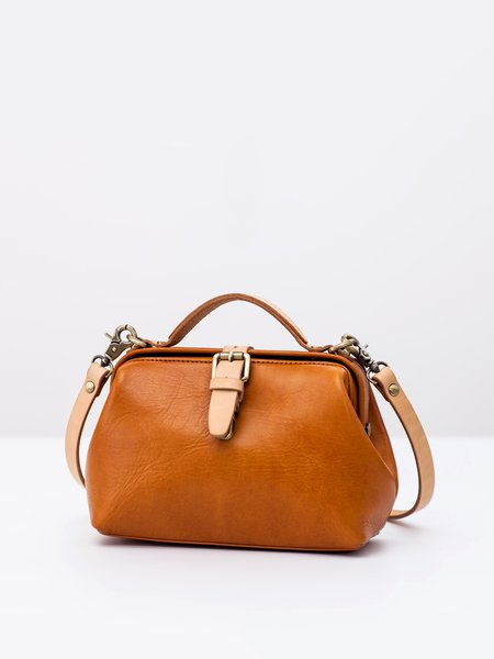 Solid Cowhide Leather Small Magnetic Satchel