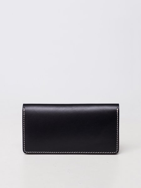 Black Cowhide Leather Fold-over Flat Top Wallet