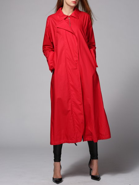 Red Plain Casual Lapel Trench Coat