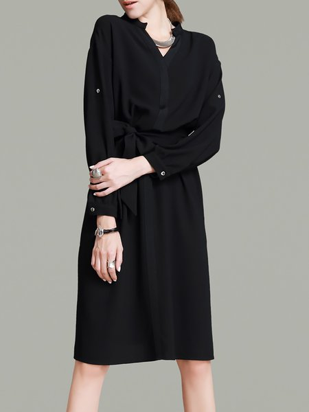 Black Long Sleeve Plain Polyester V Neck Midi Dress