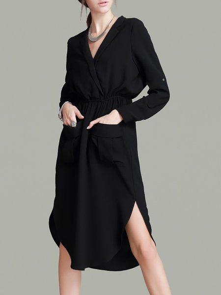 Black Elegant Slit Midi Dress