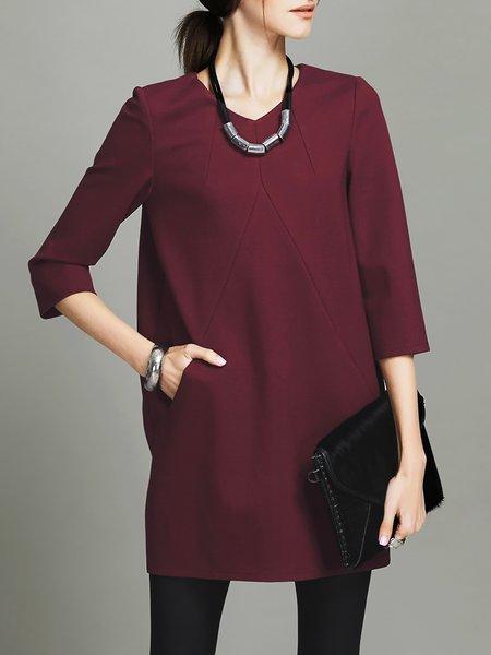 Viscose V Neck Elegant Long Sleeve Mini Dress