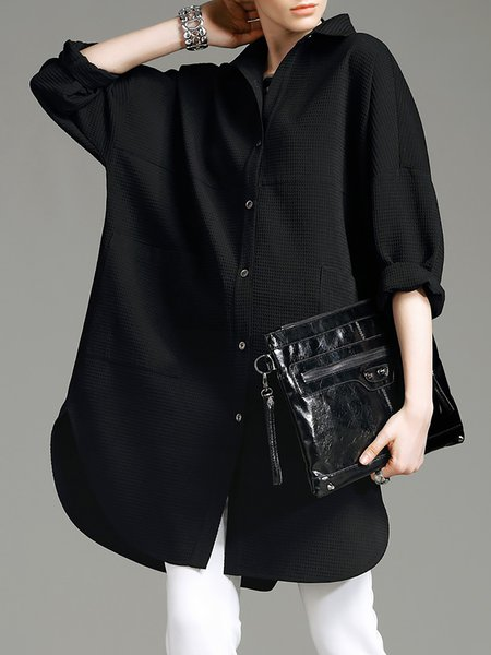 Long Sleeve Plain Simple Shift Shirt Dress