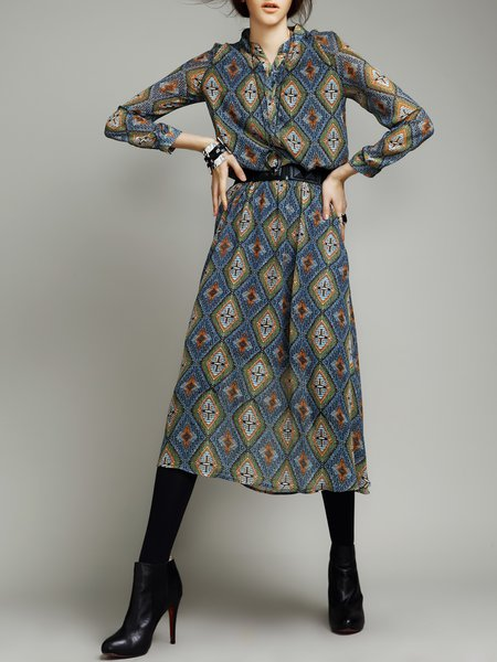 Tribal Long Sleeve Elegant Viscose Midi Dress