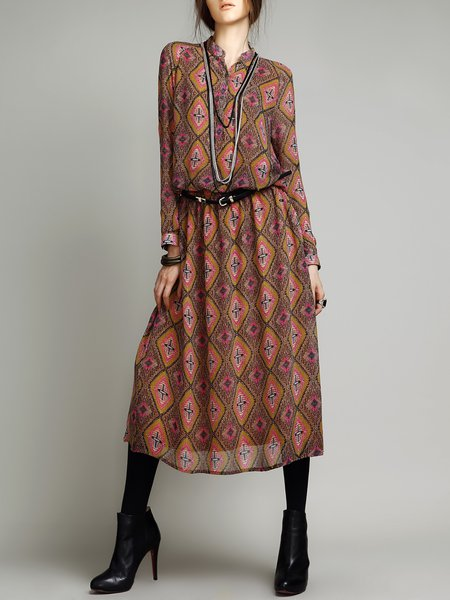 Yellow H-line Long Sleeve Stand Collar Tribal Midi Dress