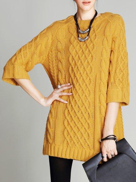Yellow Acrylic Elegant H-line Sweater Dress