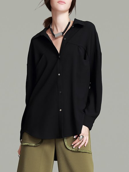 Shirt Collar Pockets Polyester Elegant Long Sleeve Blouse