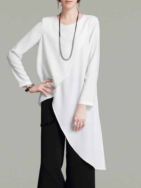 Cream Asymmetrical Simple Tunic