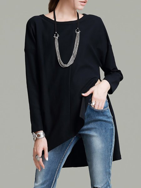 Long Sleeve Crew Neck Asymmetrical Simple Cotton Blouse