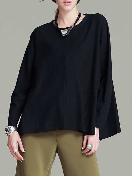 Simple Batwing Cotton Plain Crew Neck Blouse