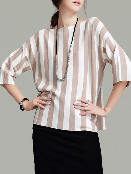 Apricot Knitted Elegant Viscose Stripes Sweater