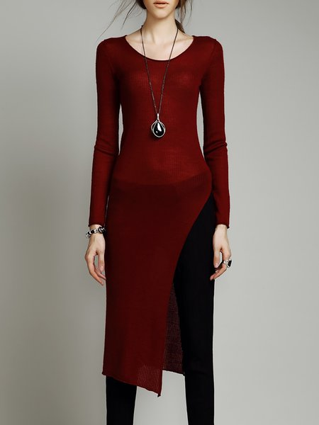 Burgundy Elegant Asymmetrical Crew Neck Tunic