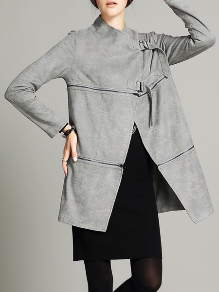 Suede Zipper Elegant Long Sleeve Coat