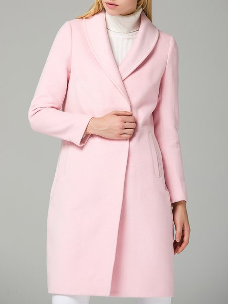 Pink Lapel Long Sleeve Coat