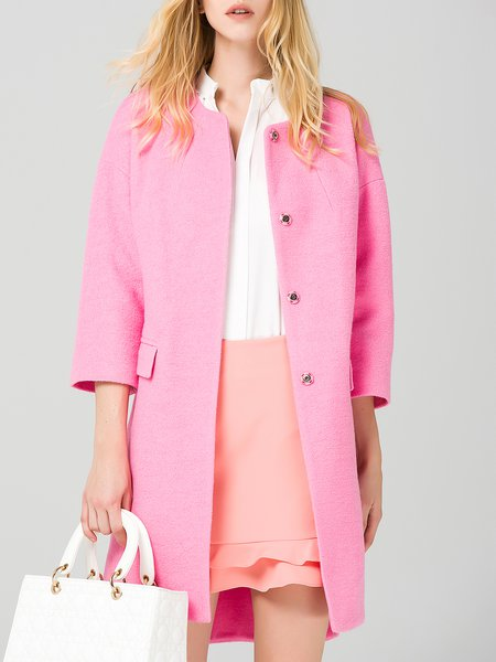 Pink Casual Wool Blend Plain H-line Coat