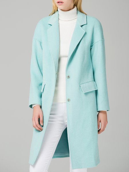 Green Plain Casual Lapel H-line Coat