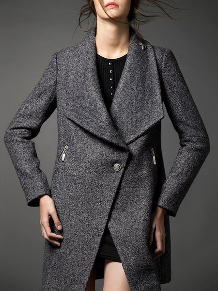 H-line Long Sleeve Lapel Casual Plain Coat