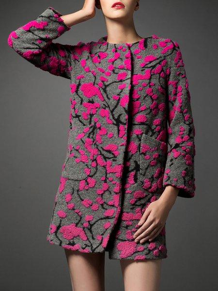Casual Embossed Long Sleeve Coat