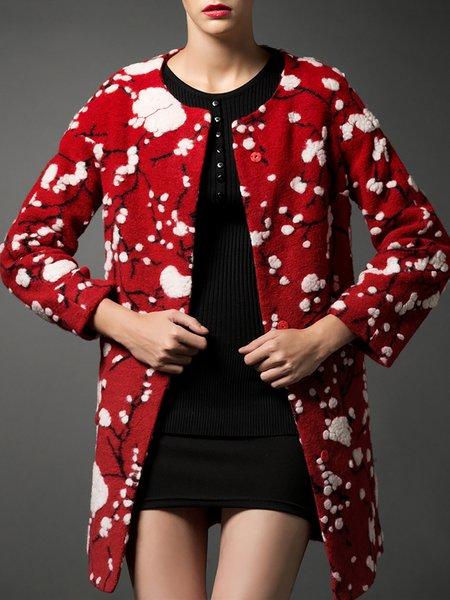 Wool Blend H-line Long Sleeve Casual Coat