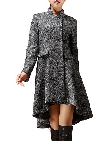A-line Ruffled Stand Collar Long Sleeve Casual Coat