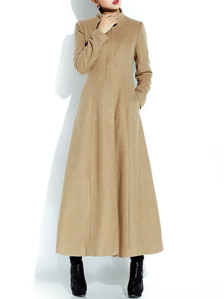 Camel Long Sleeve A-line Plain Coat