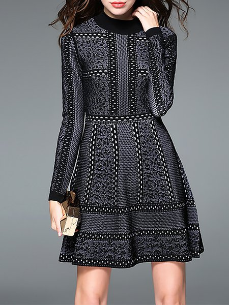 Black Casual A-line Geometric Turtleneck Mini Dress