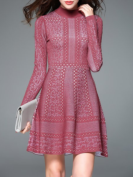 Red A-line Long Sleeve Crocheted Turtleneck Mini Dress