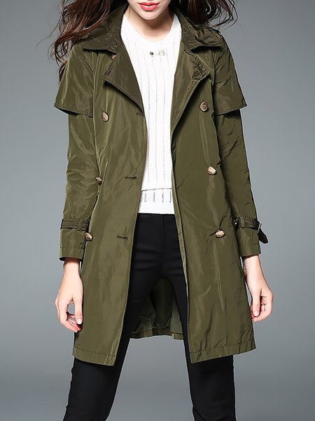 Army Green Simple Double Breasted Coat