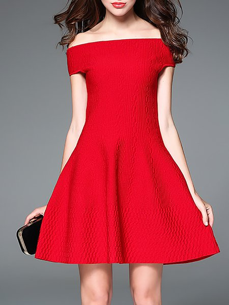 Red Short Sleeve Off Shoulder A-line Polyester Mini Dress