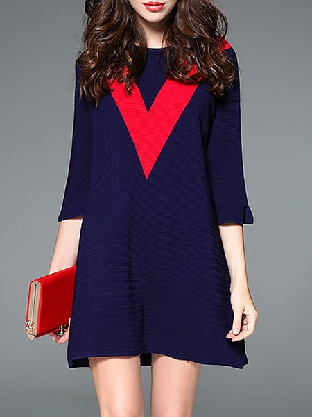 Dark Blue Color Block Simple Half Sleeve Mini Dress