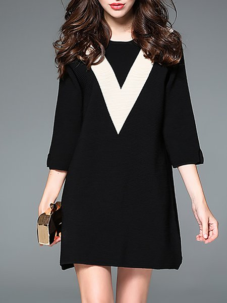 Black Color Block Simple Half Sleeve Mini Dress