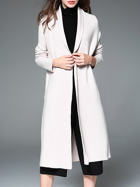 Beige Plain Long Sleeve Coat