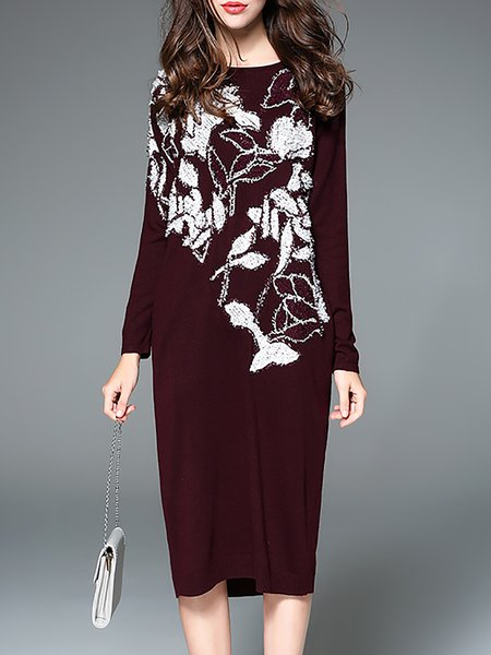 Burgundy Casual Polyester Midi Dress