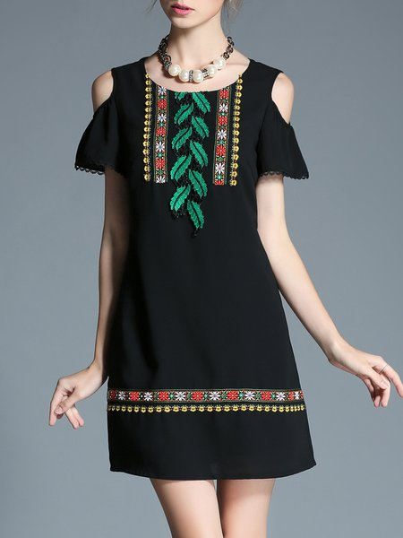 Black Crew Neck Short Sleeve A-line Embroidered Mini Dress