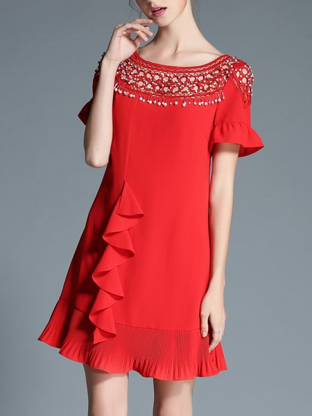 Short Sleeve Polyester Elegant Ruffled Mini Dress