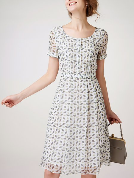 White A-line Silk Crew Neck Short Sleeve Midi Dress