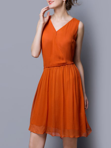 Orange Sleeveless Asymmetric A-line Surplice Neck Midi Dress