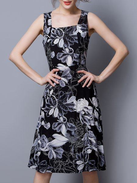 Black Elegant A-line Floral Silk Midi Dress