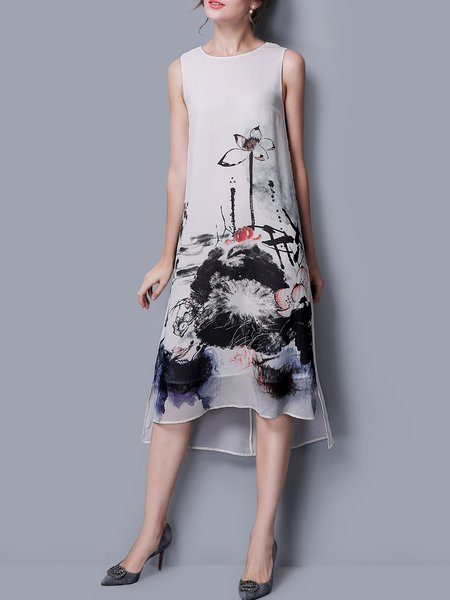 Beige High Low Foral Printed Sleeveless Midi Dress