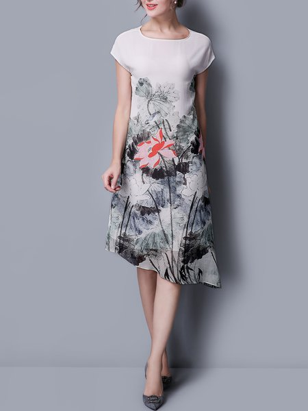 Floral Elegant Short Sleeve Asymmetrical Midi Dress