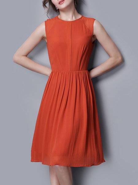 Orange Simple Silk Crew Neck Midi Dress