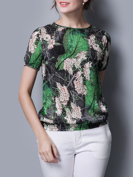 Green Casual Shirred Silk Short Sleeved Top