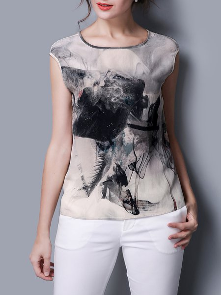 Multicolor Printed Graphic Casual Short Sleeved Top