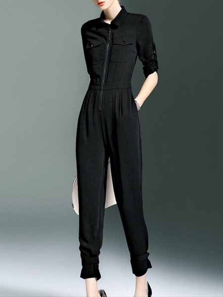 Black Plain Simple Half Sleeve Jumpsuit