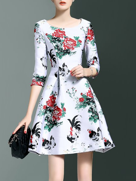 White Printed Cocktail Crew Neck Polyester Mini Dress